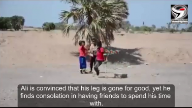 Story of a Houthi-mine victim who lost his legs to a Houthi landmine (Video )